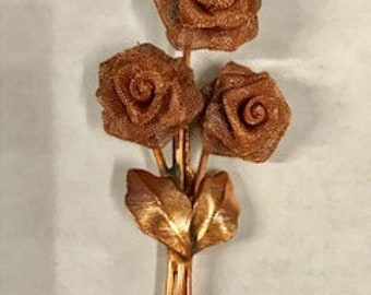 6pcs Vintage Copper Mesh rose with leaves and bar pin