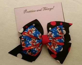 Stacked hair bow, Christmas, Micky Mouse, Minnie Mouse, lined single prong alligator clip.