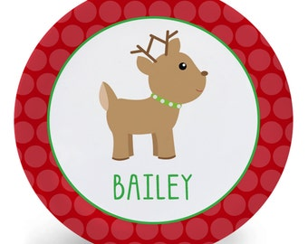 Reindeer Plate - Little Reindeer Christmas Melamine Bowl or Plate Personalized with Child's Name (Plastic)