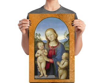Religious wall art - The Virgin and Child with St John Baptist Child - Christian Poster - Virgin Mary art - holy art