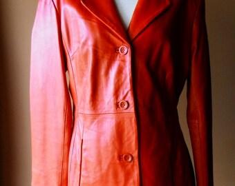 Vintage Women's Red Leather Brandon Thomas Taylored Jacket size Medium