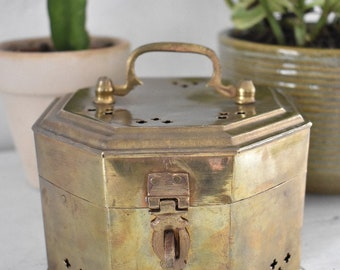 Vintage Brass Octagon Box/Trinket Box/8 sided/Cricket Box Pierced/Jewelry Box/Incense Burner/Boho Bohemian ( B11)