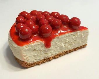 Cherry Cheesecake Slice Refrigerator Magnet, Polymer Clay Food Decor, Dessert Decor