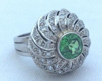 1950's Deco Tsavorite and Diamond Cocktail Ring