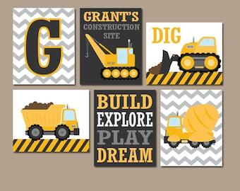 CONSTRUCTION Wall Art, CONSTRUCTION Trucks, CANVAS or Prints, Big Boy Room Decor, Construction Theme, Construction Quotes, Set of 6 Pictures