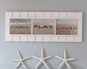 Dance Play Laugh- Beach Photography, word art, beach stone art, beach décor, fun beach art, motivating sentiment, gift for dancer,upbeat art