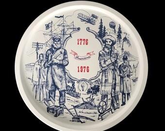 Vintage Bicentennial Tray, 1776-1976, American Revolutuion, Metal Tray, Round Tin Tay, Vintage Bar Tray, History Wall Art, 4th of July,