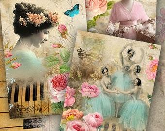 Melodie - digitale Collage Blatt - Set von 4 Postkarten - Druckversion herunterladen