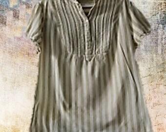 Green Striped woman blouse