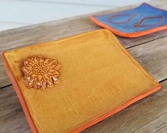 Meadowlark Yellow Soap Dish - Rustic - Trinket Tray - Soap Dish