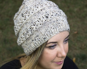 Cream Slouchy Knit Hat - Cream Vegan Hat - Boho Hat - Hipster Hat - Hippie Hat - Womens Tam - Mens Beanie - Acrylic Handknit - Gift for Her