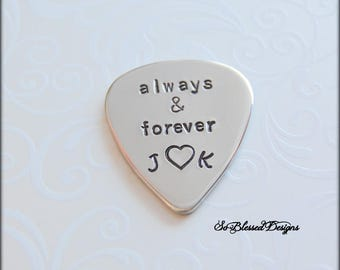 Groom Gift from Bride, Wedding Day gift, Custom guitar pick, Gift for musician engraved, Always and Forever guitar pick, Couples gift