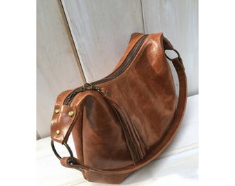 Brown distressed leather hobo bag, pull up leather, smaller size, choose your lining, zipper closure, genuine leather, handmade in the USA