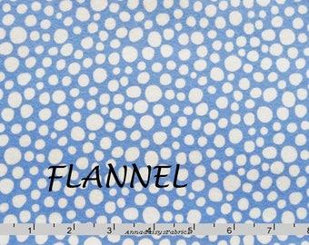 Blue Flannel Fabric, Michael Miller Little Spots Flannel FX5718 Cotton Flannel Quilt Fabric, Baby Quilt Fabric, Cornflower Blue Dot Flannel