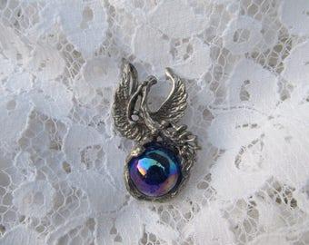 Vintage Silver Metal Eagle Iridescent Sphere Pendant