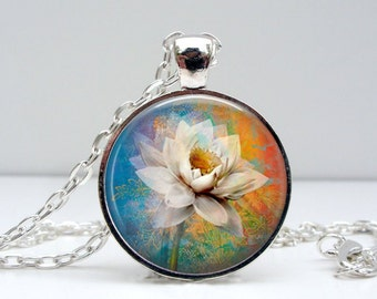 Water Lily Necklace : Glass Dome Art Picture Pendant Photo Pendant Handcrafted Jewelry  (1157)