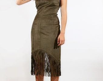 Olive Suede Fitted Fringe Dress, Bohemian Dress, Bodycon Dress, Boho Dress - Gift for Her - Birthday Gift - Sale - Coachella Outfit
