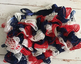 Ready to Ship Crochet Ruffle Skirt Size 0-6 month in red white and blue
