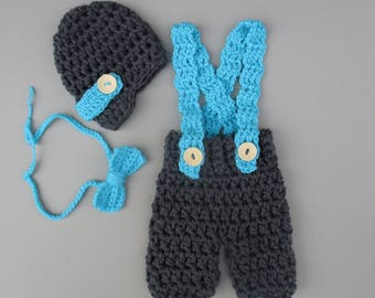 Gray Newborn Baby Photo Prop Outfit  Newborn Boy Outfit Newborn Crochet Outfit Baby Boy Outfit Newborn Photo Prop Coming Home Outfit