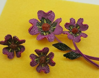 Art Signed  Bold Flowers Brooch and Clip Earrings Raspberry Rich
