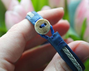 Sami Blue Reindeer Leather Bracelet