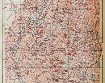 1895 antique city map of brussels belgium bruxelles 123 years old chart