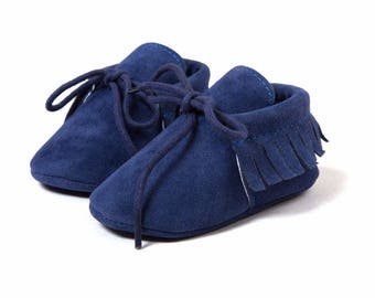 Dark Blue Suede Lace Shoes, Baby Shoes, Baby Girls Shoes, Baby Boy Shoes, Suede Lace Moccasins, Baby Moccasins, Newborn Moccasins