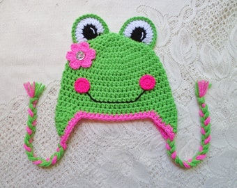 READY TO SHIP - 5 Year to Small Adult Size - Miss Frog Crochet Hat - Winter Hat or Photo Prop