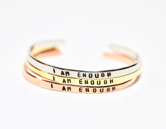 I am Enough | I am Enough Bracelet | I am Enough Jewelry | You are Enough | Positive Affirmation | Inspirational bangle | Empowering Jewelry