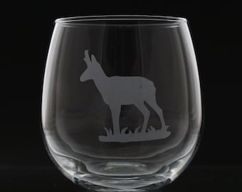 Antelope Stemless Wine Glass - Etched Wine Glass - Antelope - Etched Wine Glass - Red Wine Glass
