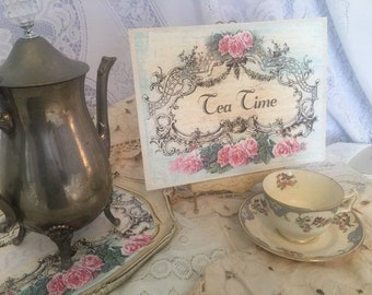 Shabby Pink Roses ~ TEA TIME ~ Handcrafted Shabby Wooden Sign #2