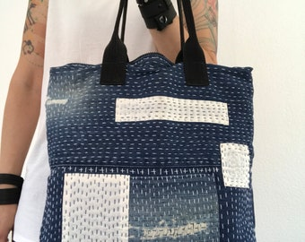 Denim tote bag with sashiko stitching