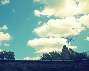 """cloud photography, summer photo, vintage tv antenna, sky, rooftop, city, aqua, cream, white, dreamy - """"Screened-In Summer Afternoon"""""""