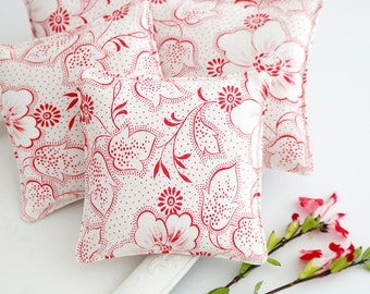 Petite Lavender Sachet, Vintage French Floral in Red & White