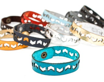 Leather Bracelet - Chevron Pattern - Geometric Laser Cut Leather Cuff (Choose Your Color and Size)