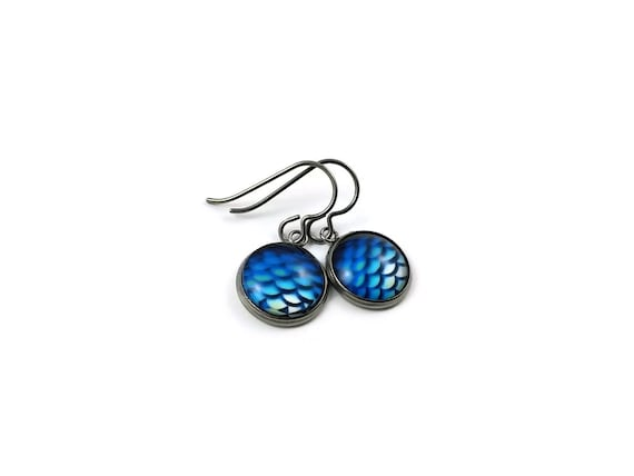 Blue mermaid dangle earrings - Hypoallergenic pure titanium, stainless steel and glass jewelry