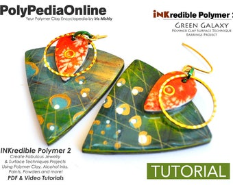 Polymer Clay Tutorial, Polymer Clay Jewelry, PDF Tutorial, Crafting Polymer Clay, Polymer Clay Pattern, DIY Handmade Bead, Jewelry, Ink