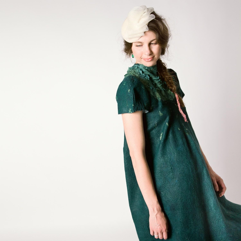 Gefilzte Kleidung Smaragd grünen Kleid weites Kleid
