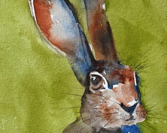 watercolor painting of bunny painting bunny print bunny art print rabbit painting rabbit print ATC brown folk SMALL Artist Trading Card
