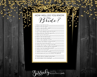 How well do you know the Bride? Bridal Shower Game - INSTANT DOWNLOAD - Printable Gold Confetti Wedding Shower Party Game / Sassaby Weddings