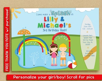 Splash Pad Invitation, Water Park Birthday Party, Spray Park Invitation, twins siblings friends