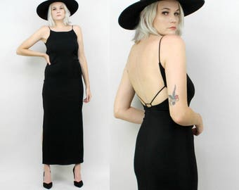 90s Slinky Black Maxi Dress, Size Small, Stretchy, Low Back, Strappy, Sleeveless Formal Gown, Side Slits, Gothic, Grunge, Minimalist