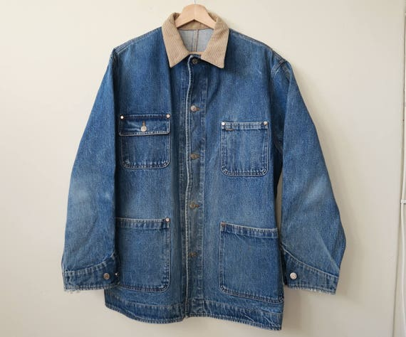 Vintage unisex outdoor work denim jacket with remove wool lining size small pOHmw