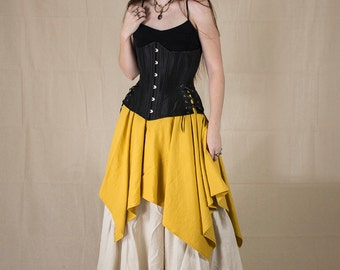 Yellow Linen Pixie Skirt - Renaissance Clothing - Halloween Costume - Ren Faire Garb - Pirate Skirt - Peasant Costume - Medieval Clothing