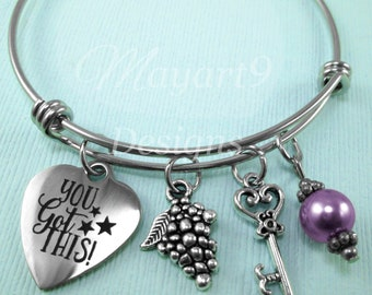 Encouragement Bracelet,Bangle,Jewelry,Inspiration,Promotion,Moving,Gift,Charm Bracelet,Grapes Charm,Key, Pearl,Gift For,Silver,Quote