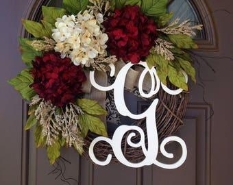 Front Door Wreath - Burgundy and Cream Hydrangea Wreath - Summer Wreath -Year Round - Grapevine Wreath with Monogram and Burlap