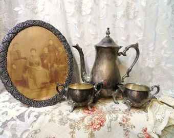 SHERIDAN TAUNTON SILVERSMITHS Fancy Tea Pot-Creamer-Sugar Set-Silver Plate Coffee Pot-Shabby Tarnished Silver Serving Set-Tea Party-Tea Set