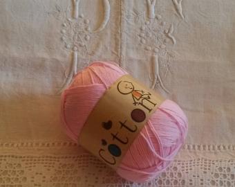 Cotton knit or crochet yarn / knitting or crochet cotton yarn / pink / baby /coton for Crochet Cotton