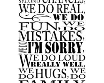 """In this house we do second chances Vinyl wall decal 13 x 23"""""""