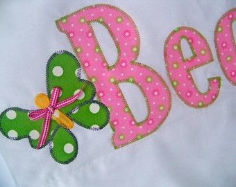 The Name Pillowcase -Butterfly Embellished Pillowcase in Pink With Green Polka Dots